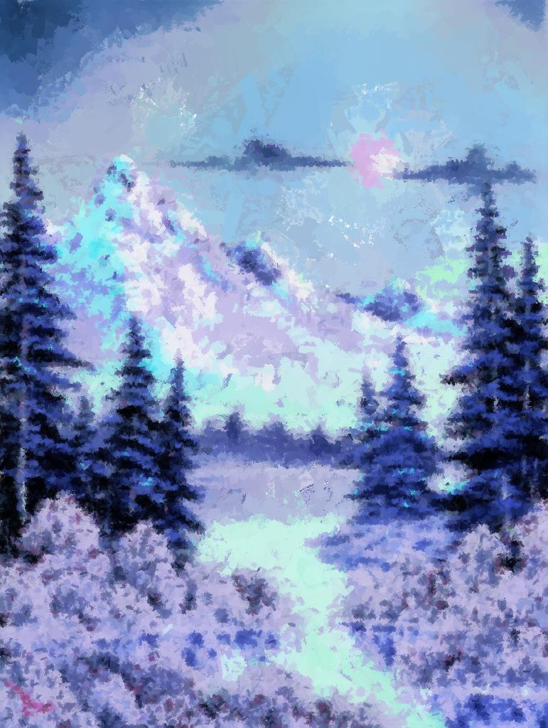 Bob Ross painting repainted with a blues/purples palette