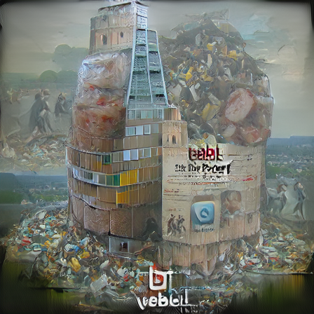 Tower of Babel but it's made of garbage