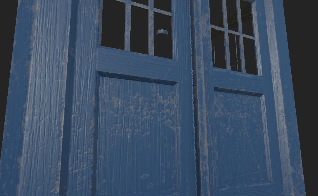 TARDIS police box wood detail (abandoned WIP)